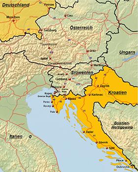 Anreiseroute Kroatien Karte