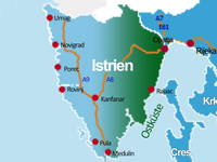 Karte Anreise Istrien - Ostküste