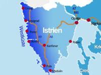 Karte Anreise Istrien - Westküste
