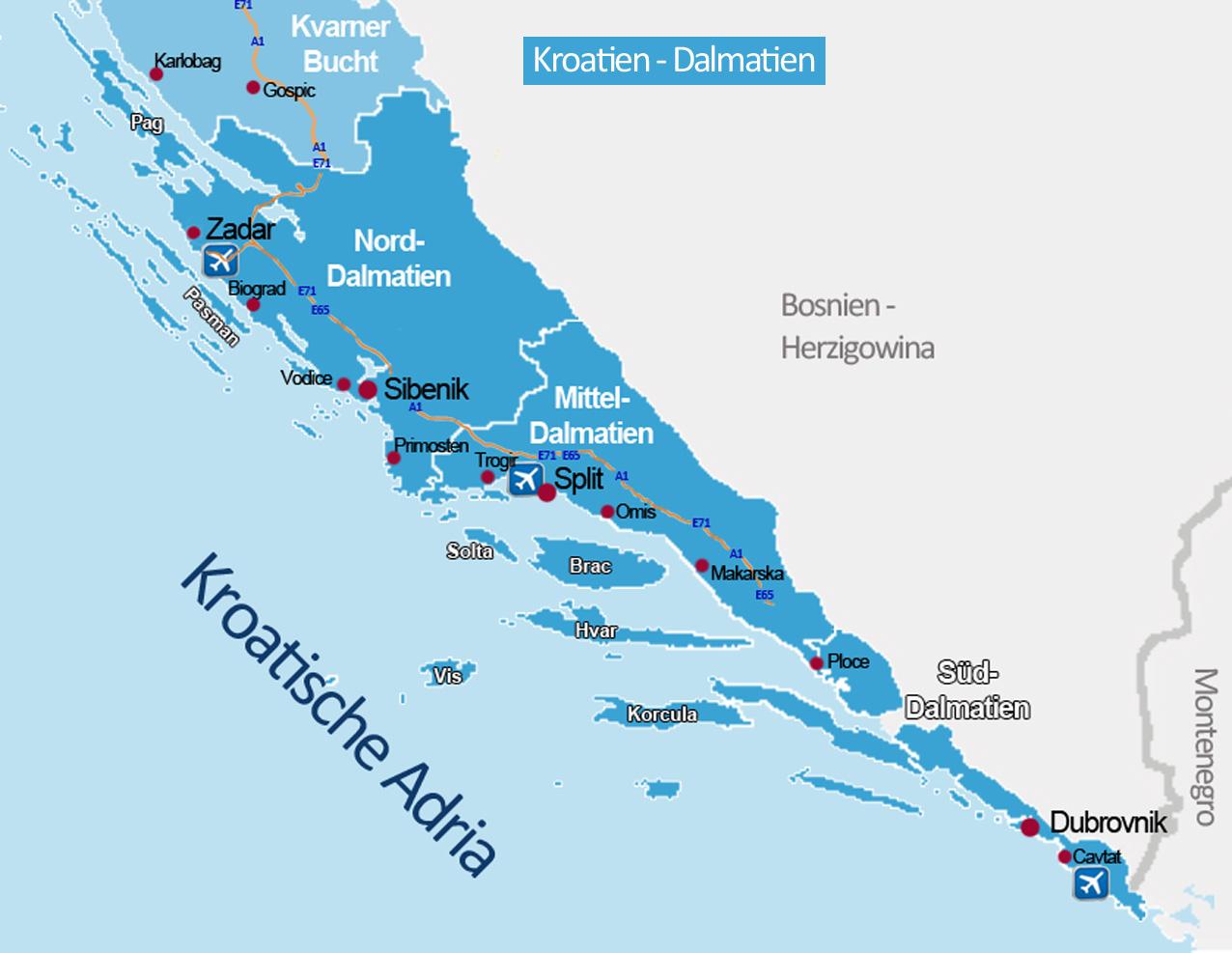 Karte Istrien Kroatien.Reiserouten Nach Kroatien Routenplaner Karten