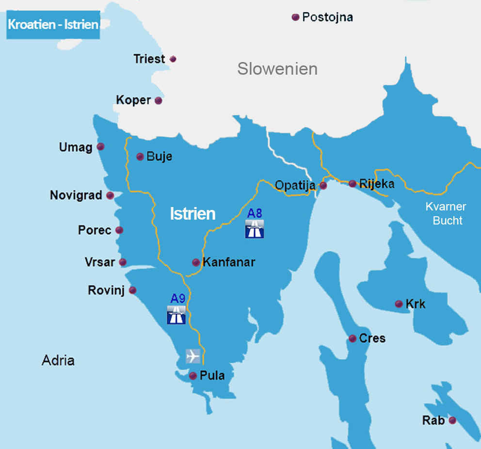 Istrien Karte Rabac.Reiserouten Nach Kroatien Routenplaner Karten