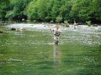Fliegenfischer am Fluss Kupa