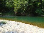 Stelle zum Fliegenfischen am Fluss Kupa