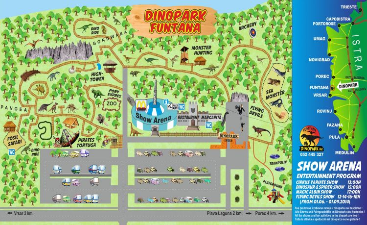 Karte Dinopark Funtana