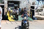 Motorradfahrer, Fähre Kroatien