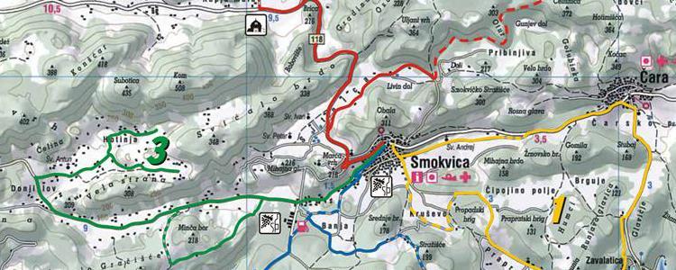 Radwanderkarte Smokvica - Brna