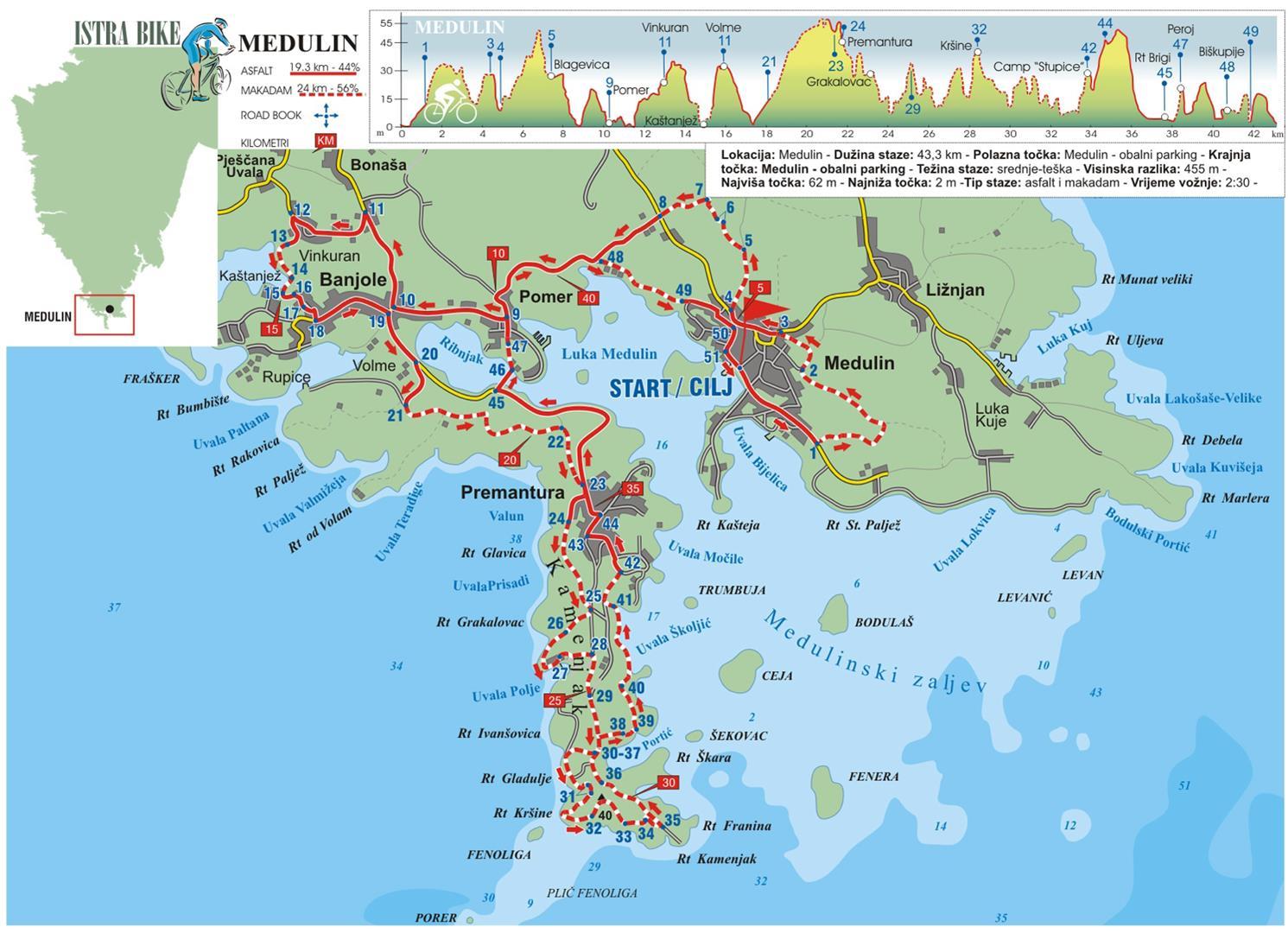 Karte Kroatien Pula.Radroute Orchideen Route