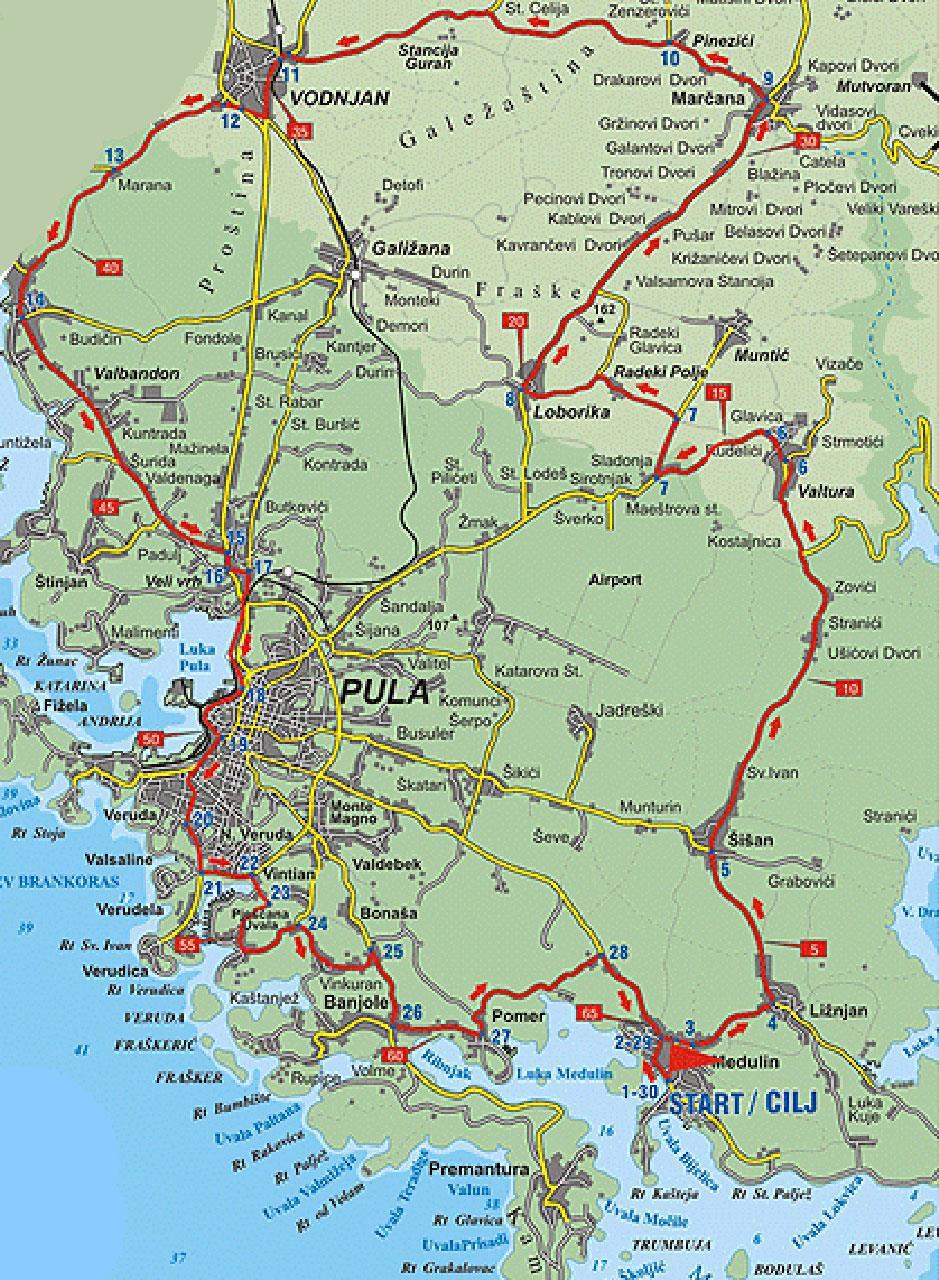Karte Kroatien Pula.Fahrradtour Medulin Und Pula Radroute Via Curiositas Histriae