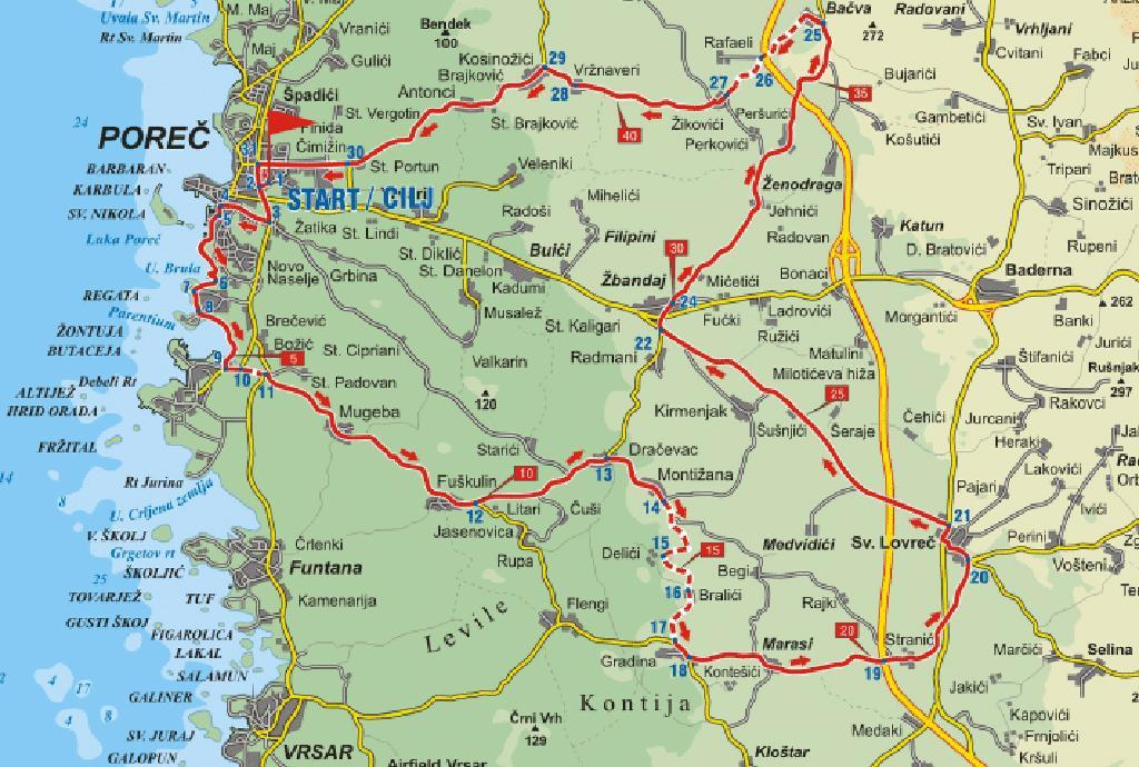 Karte Istrien Kroatien.Radroute Euphrasiana Fahrradtour Ab Porec Kroatien