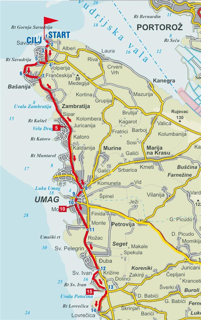 umag kroatien karte Radroute Auf der Suche nach dem Schatz der Riviera von Umag  umag kroatien karte