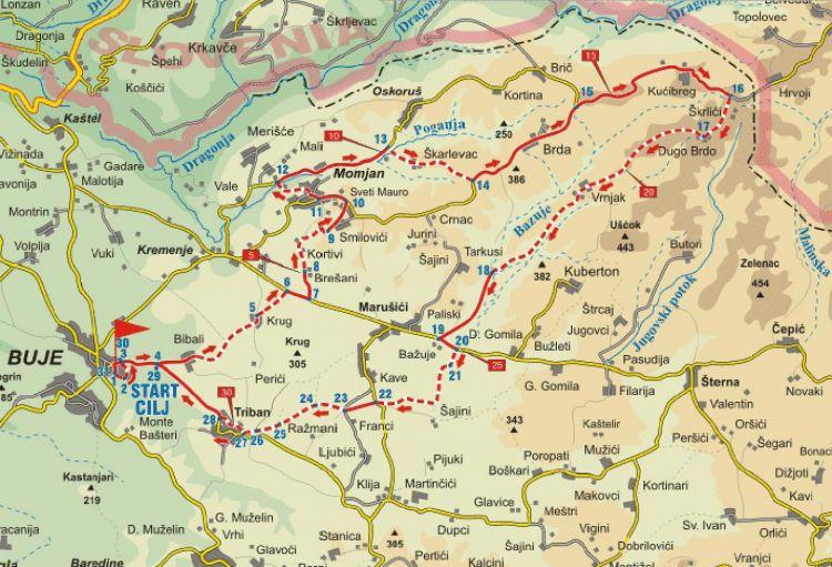 Karte Radroute Momjaner Muskat - Umag - Novigrad