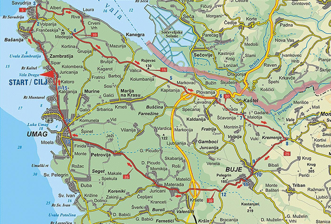 Radroute der Weg Salviana | Fahrradtour ab Umag und Savudrija