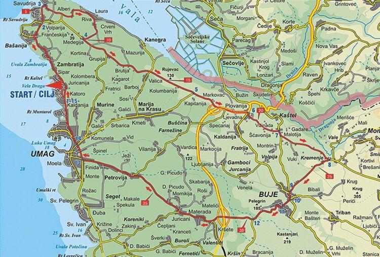 Karte Radroute Der Weg Salviana in Umag - Savudrija