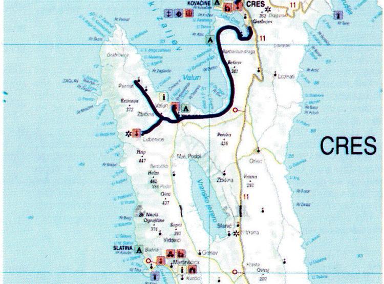 Karte der Radroute Zentraler Teil Insel Cres