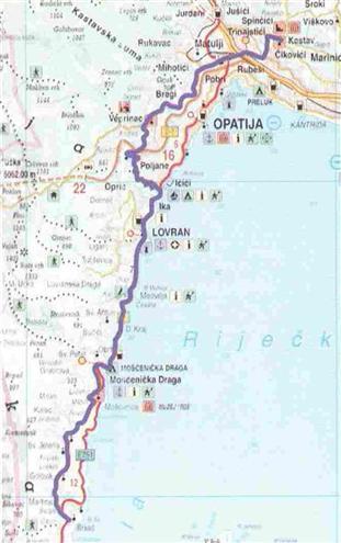 Karte der Radroute Durch die alten Städte Liburniens