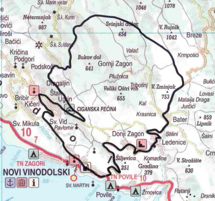 Karte der Radroute Gegend von Vinodol