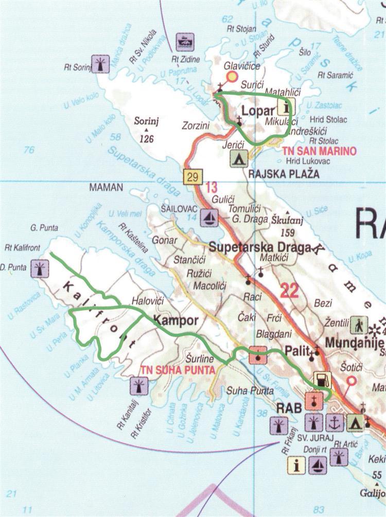 Karte der Radroute Kalifront - Insel Rab