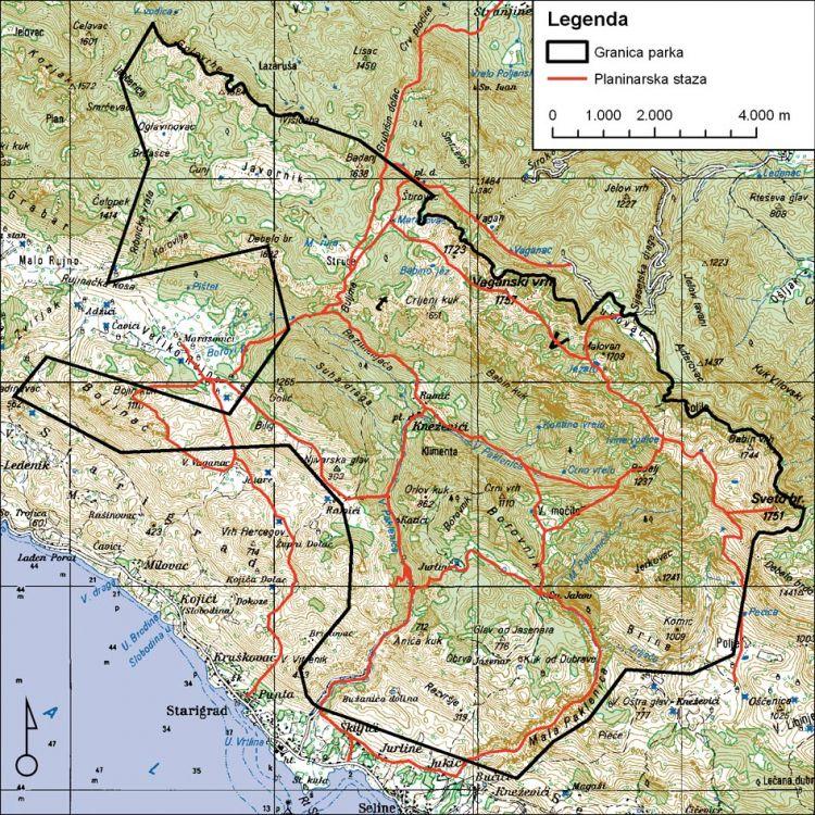 Wanderkarte Nationalpark Paklenica