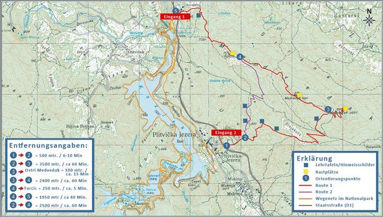 Nationalpark Plitvicer Seen - Wanderkarte Medvedjak