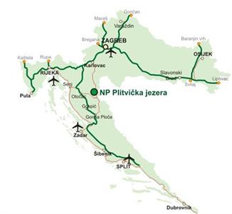 Nationalpark Plitvicer Seen - Entfernungen und Flughäfen