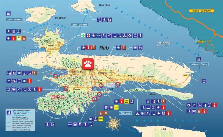 Karte Insel Rab - Palit - Infos