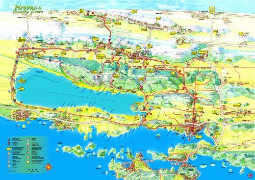 Karte der Radrouten in und um Pirovac