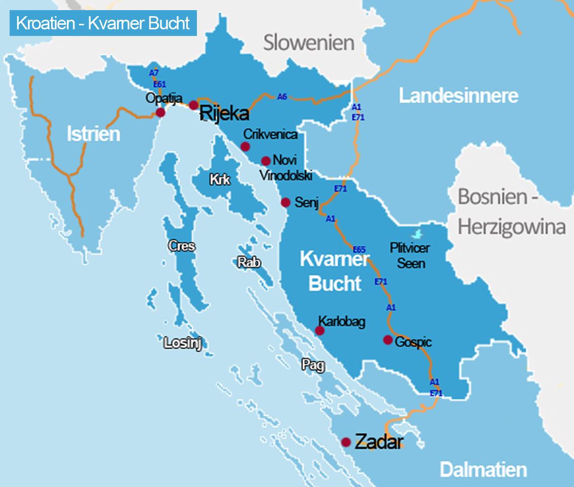 karte istrien kvarner bucht Kvarner Bucht | Kroatien Reiseführer √   Kroati.de