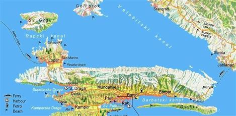 Karte von der Insel Rab