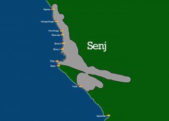 Lageplan der Strände in Senj