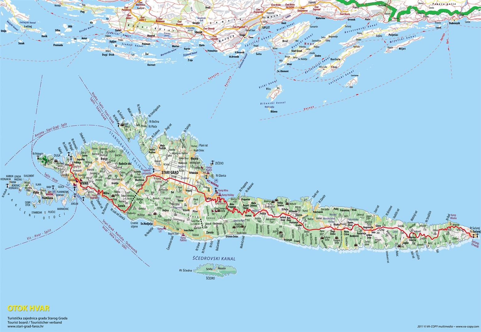 kroatien karte inseln Insel Hvar | Kroatien Reiseführer √   Kroati.de kroatien karte inseln