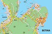 Betina - Stadtplan, Karte