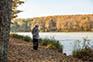 Angler am Fluss Mura