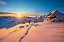 Sonnenuntergang Velika Planina, Schneewanderung