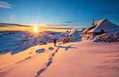 Winterabend Velika Planina