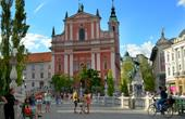 Ljubljana - Preseren Platz & Drei Brücken
