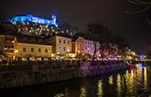 Ljubljana - Nachtaufnahme, Dezember