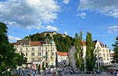 Ljubljana - Blick Drei Brücken & Burg