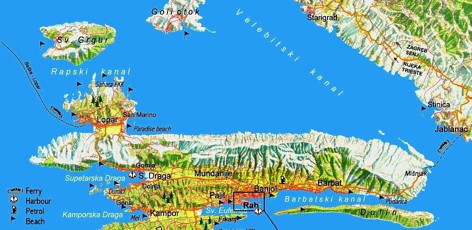 Karte von der Insel Rab - Lage Supetarska Draga